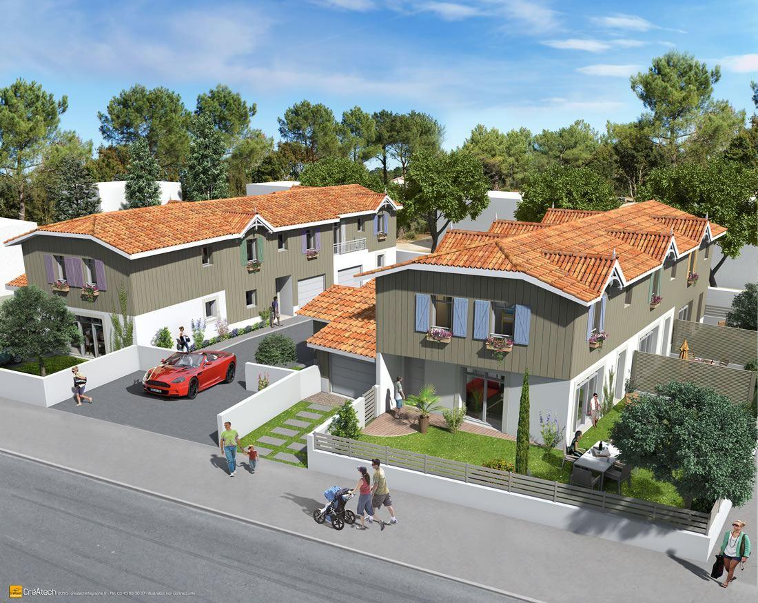 Groupement d'habitations 6 villas (Cabane pêcheur) proximité port Andernos-les-Bains 33 Gironde