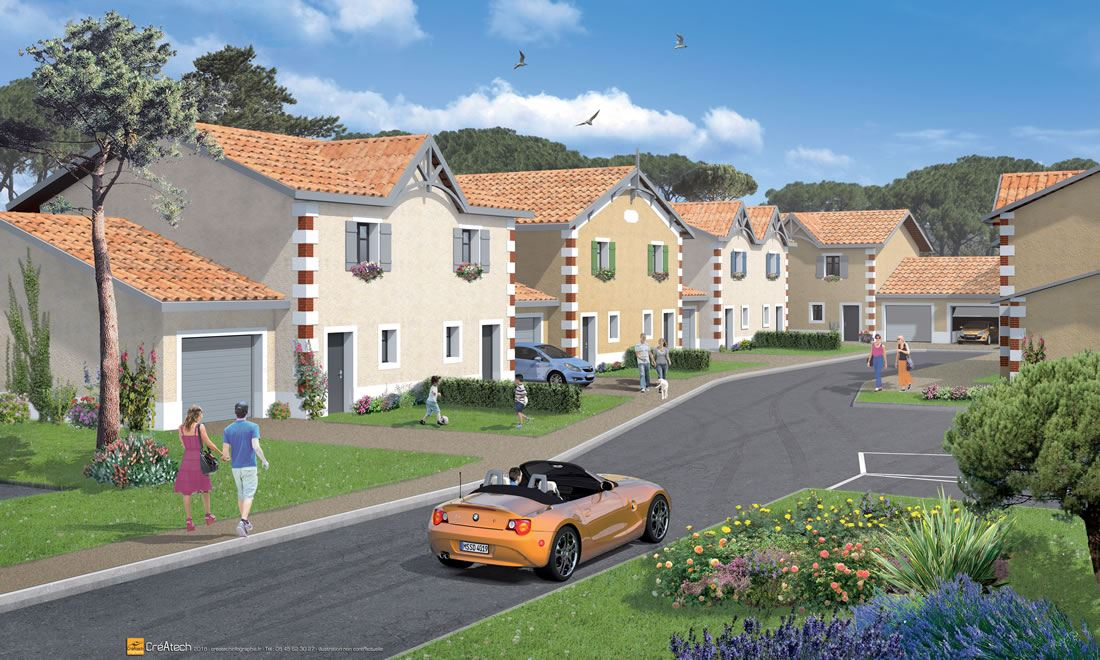 Résidence de 12 villas T4 avec garage et stationnement Marcheprime proximité Bordeaux